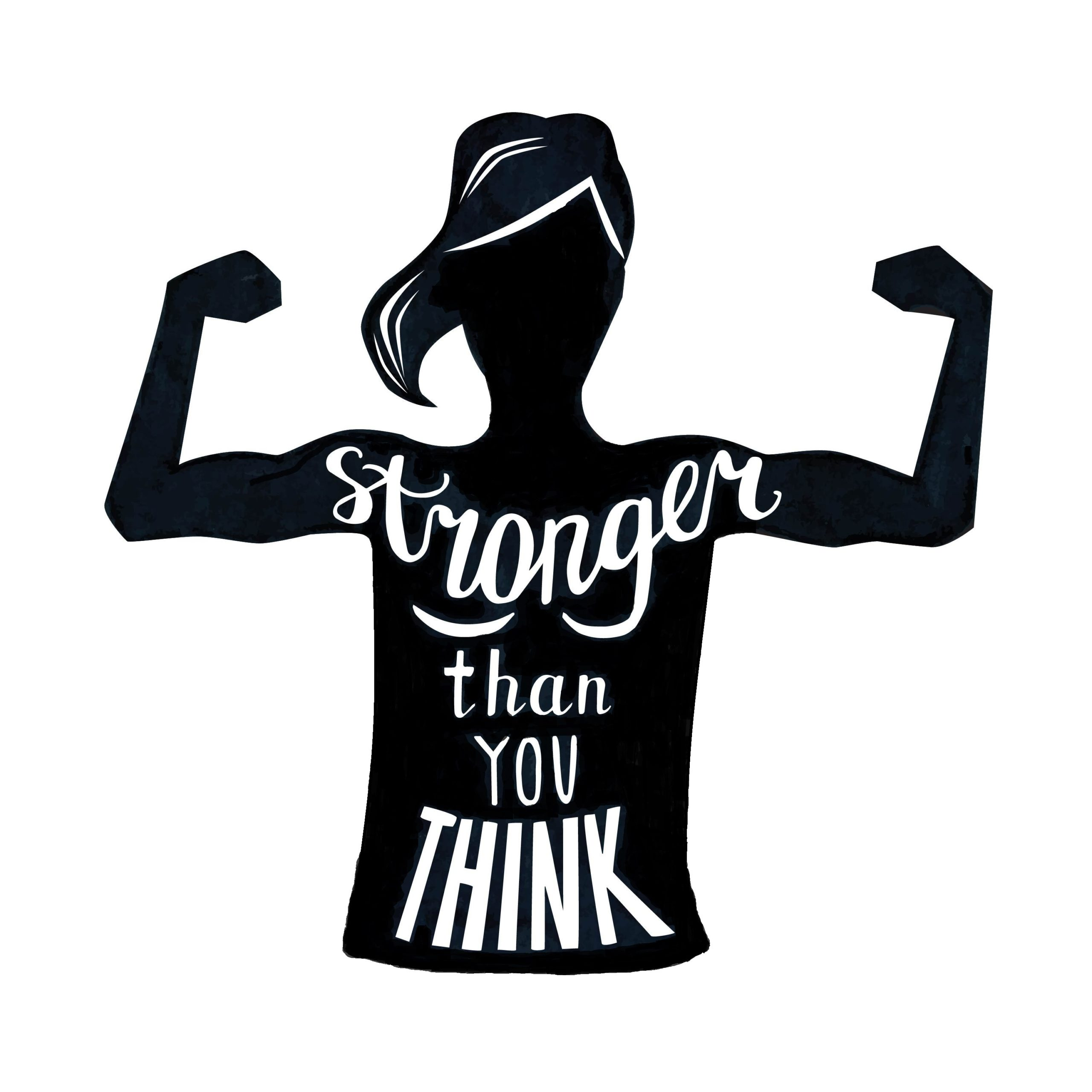 silhouette of strong girl