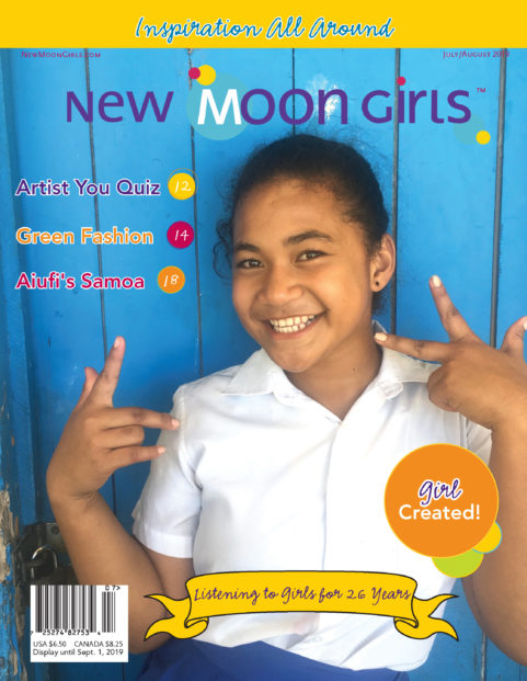 cover of the July-August 2019 New Moon Girls magazine