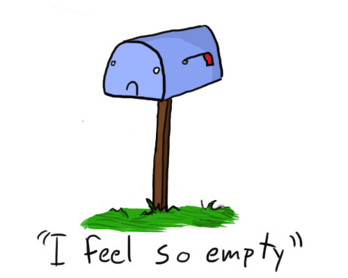 mailbox with sad expression and caption saying I feel so empty.